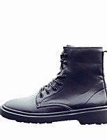 cheap -Women's Shoes PU Winter Combat Boots Boots Round Toe Mid-Calf Boots For Casual Black