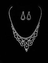 Women's Drop Earrings Pendant Necklaces Rhinestone Wedding Evening Party Silver Rhinestone