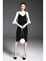 Women's Daily Casual Winter Sweater Dress Suits,Solid Round Neck Long Sleeves Modal Nylon