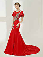 Mermaid / Trumpet Jewel Neck Court Train Satin Night out&Special occasion Formal Evening Dress with Laces Beading by SG