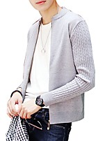 Men's Casual/Daily Work Regular Cardigan,Solid V Neck Long Sleeves Rayon Polyester Autumn Winter Medium Micro-elastic