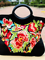 Women Bags Canvas Tote Embroidery Zipper for Outdoor All Season Orange Fuchsia