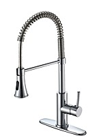 Contemporary Classic Style Deck Mounted Widespread Pullout Spray Pull out Chrome , Kitchen faucet