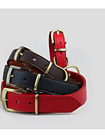 cheap -Dog Collar Adjustable Solid Genuine Leather Red Brown Black