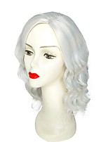 Women Synthetic Wig Capless Short Wavy Grey Natural Hairline Layered Haircut Party Wig Celebrity Wig Halloween Wig Cosplay Wig Natural