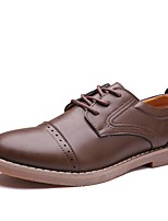 Men's Shoes Cowhide Spring Fall Formal Shoes Oxfords For Office & Career Light Brown Brown Black