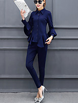 Women's Work Street chic Winter Fall Shirt Pant Suits,Solid Shirt Collar Long Sleeves Ruffle Polyester Nylon