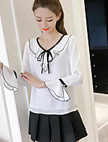 Women's Others Street chic Autumn Blouse,Solid V Neck Long Sleeves Polyester