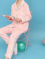 Costumes Pyjamas Femme,Fleurs Coton Polyester Rose Claire