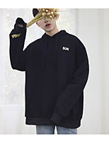 cheap -Men's Daily Going out Hoodie Solid Letter Hooded Micro-elastic Polyester Long Sleeves Winter Fall/Autumn