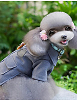Cat Dog Coat Dog Clothes Casual/Daily Keep Warm Solid British Gray Costume For Pets