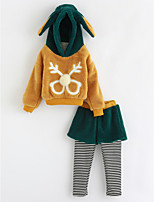 cheap -Girls' Animal Print Clothing Set,Cotton Winter Long Sleeves Green