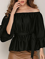 cheap -Women's Daily Going out Cute Active Sexy Spring Summer Shirt,Solid Boat Neck Long Sleeves Polyester Medium