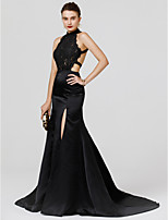 Mermaid / Trumpet High Neck Court Train Chiffon Lace Formal Evening Dress with Split Front by TS Couture®