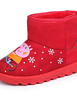 cheap -Girls' Shoes Nubuck leather Winter Fall Comfort Snow Boots Boots Walking Shoes Booties/Ankle Boots Animal Print For Casual Pink Red Gray