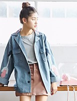 Giacca di jeans Da donna Per uscire Semplice Autunno Inverno,Tinta unita Cotone Poliestere Standard
