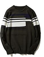 Для мужчин На каждый день Простой Обычный Пуловер Однотонный,Круглый вырез Длинный рукав Шерсть Полиэстер Осень Средняя Слабоэластичная