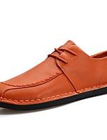 Для мужчин обувь Кожа Весна Осень Удобная обувь Туфли на шнуровке Назначение Повседневные Черный Коричневый