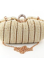 Women Bags Polyester Evening Bag Buttons Pearl Detailing for Wedding Event/Party All Season Beige