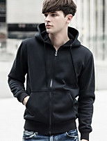 cheap -Men's Daily Going out Hoodie Solid Cotton 3/4 Length Sleeves