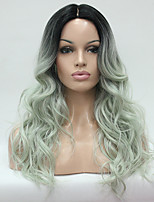 Hivision Heat Resistant Natural Hairline Ombre Off Black And Celadon Wavy Long Wig small Edge Lace Synthetic Wigs