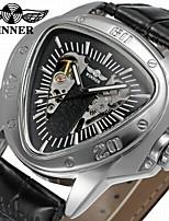 Недорогие -WINNER Муж. Механические часы Уникальный творческий часы С автоподзаводом С гравировкой Кожа Группа На каждый день Cool Черный