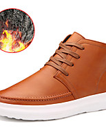 cheap -Men's Shoes Leatherette Winter Fall Fluff Lining Comfort Sneakers Mid-Calf Boots For Casual Office & Career Brown Black