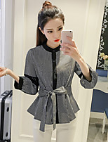 Women's Daily Cute Active Blouse,Solid Round Neck 3/4 Length Sleeve Cotton Acrylic