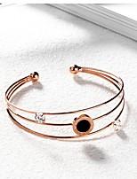 Жен. Браслет разомкнутое кольцо Стразы Титановая сталь Позолоченное розовым золотом Бижутерия Назначение Свадьба Для вечеринок