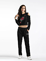 Women's Sports & Outdoor Daily Street chic Winter Fall/Autumn Hoodie Pant Suits,Embroidery Round Neck Long Sleeve Cotton