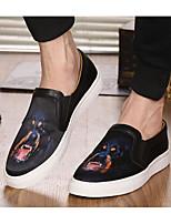 Homme Chaussures Vrai cuir Toile Printemps Automne Confort Mocassins et Chaussons+D6148 Pour Décontracté Noir Gris Rouge