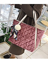Women Bags Velvet Tote Zipper for Casual Winter Fall Black Red Blushing Pink Dark Green Light Gray