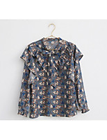 Women's Daily Wear Vintage Sophisticated Blouse,Floral Crew Neck Long Sleeves Elastane