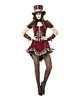 Tenue Burlesques Cosplay de Film Rouge Robes Gants Chapeau Halloween Noël Mascarade Féminin Polyester