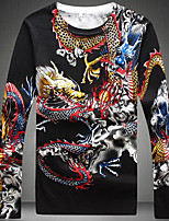 Для мужчин Прочее Шинуазери (китайский стиль) Обычный Пуловер С принтом,Круглый вырез Длинный рукав Хлопок Осень Средняя Слабоэластичная