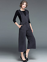 Women's Daily Going out Street chic Winter Fall Sweater Pant Suits,Solid Round Neck 3/4 Length Sleeves Polyester >75%