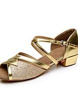 Women's Latin Customized Materials Heel Indoor Low Heel Gold Silver 1