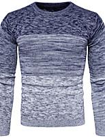 Недорогие -Муж. На каждый день Длинный рукав Пуловер - Контрастных цветов Круглый вырез