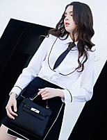 cheap -Women's Daily Work Street chic Spring/Fall Summer Shirt,Solid Shirt Collar Long Sleeve Cotton Polyester Medium