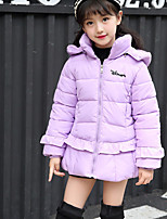 Girls' Solid Down & Cotton Padded Red Blushing Pink Purple
