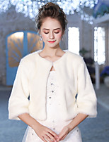 3/4 Length Sleeves Faux Fur Wedding Party / Evening Women's Wrap With Feather/ Fur Shrugs