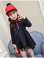 Girl's Solid Dress,Cotton Polyester Casual Navy Blue