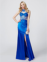 Sheath / Column High Neck Floor Length Jersey Formal Evening Dress with Beading Appliques Split Front by TS Couture®