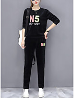 Women's Daily Going out Casual Winter Fall Hoodie Pant Suits,Letter Round Neck Long Sleeve Polyester