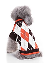cheap -Cat Dog Sweaters Dog Clothes Casual/Daily Fashion Warm Ups New Year's Plaid/Check Blue Coffee Costume For Pets