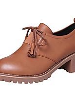preiswerte -Damen Schuhe PU Winter Komfort Stiefel Runde Zehe Booties / Stiefeletten Für Normal Kleid Schwarz Braun