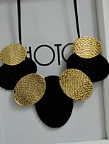 Women's Statement Necklaces Oval Leather Alloy Oversized Jewelry For Party Daily