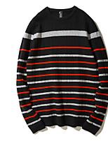 Для мужчин На каждый день Обычный Пуловер Однотонный,Круглый вырез Длинный рукав Шерсть Полиэстер Осень Средняя Слабоэластичная