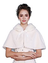 Sleeveless Faux Fur Wedding Party / Evening Women's Wrap With Lace-up Capelets