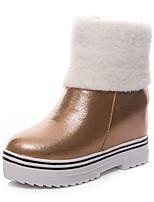 abordables -Mujer Zapatos Semicuero Invierno Botas de nieve Botas Dedo redondo Botines/Hasta el Tobillo Para Casual Dorado Negro Melocotón Rosa